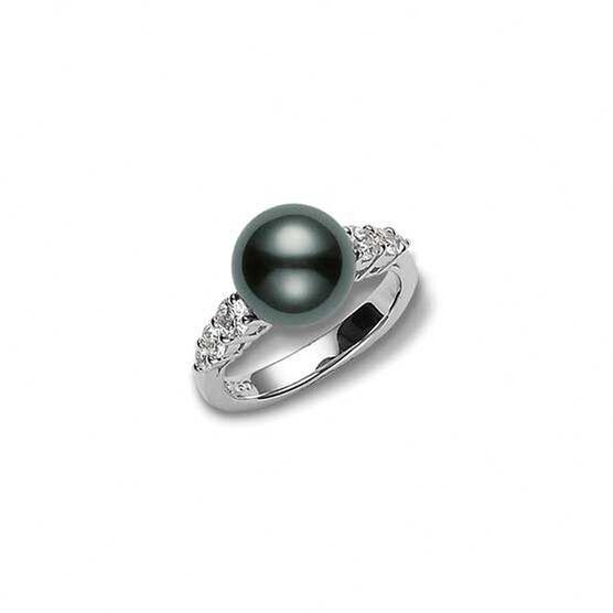 Mikimoto Morning Dew South Sea Tahitian Cultured Pearl & Diamond Ring 18K