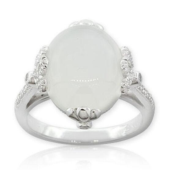 Moonstone & Diamond Ring 14K