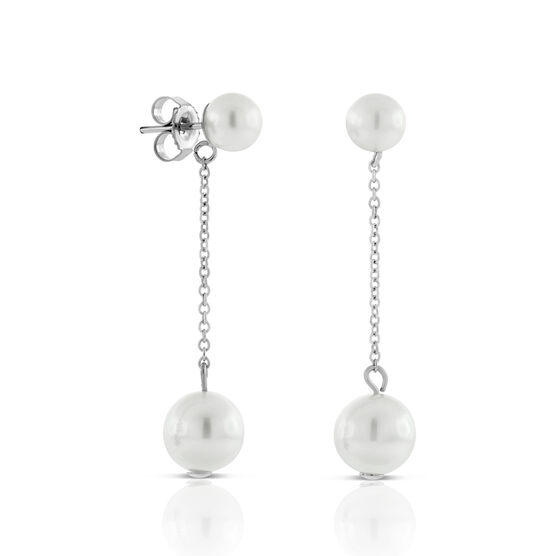 Cultured Freshwater Pearl Dangle Earrings 14K