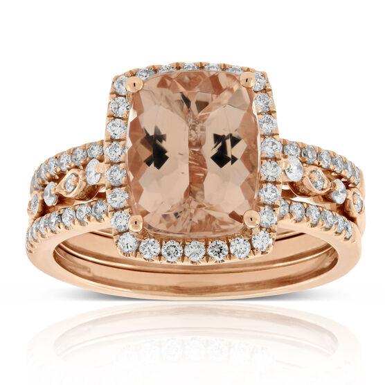 Rose Gold Morganite & Diamond Halo 3 Piece Bridal Set 14K