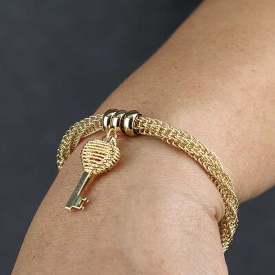 Toscano Woven Bracelet with Key Charm 14K