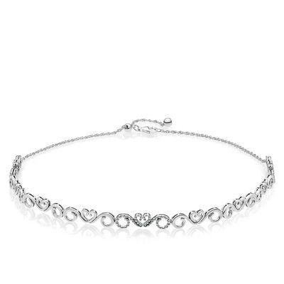 Pandora necklaces pendants ben bridge jeweler pandora hears swirls cz choker necklace aloadofball Choice Image