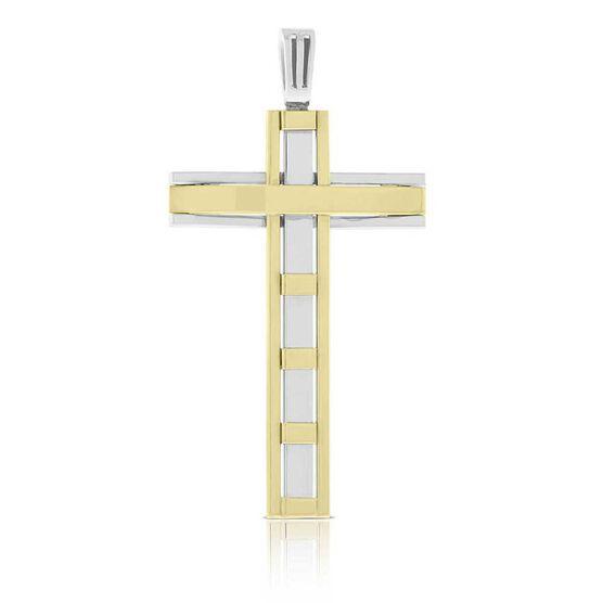 Toscano Large Reversible Cross Pendant 14K