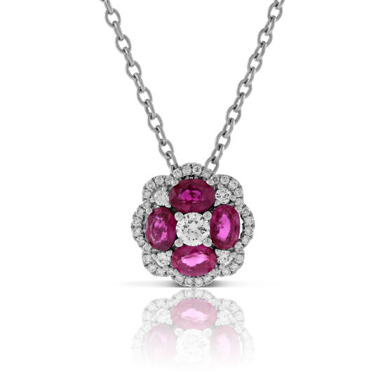 Floral Ruby & Diamond Pendant 14K