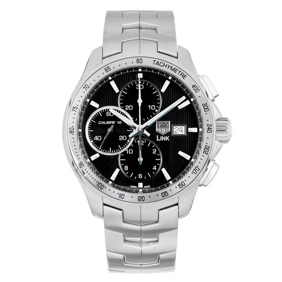Pre-Owned TAG Heuer Link Black Dial Chronograph Watch, 43mm