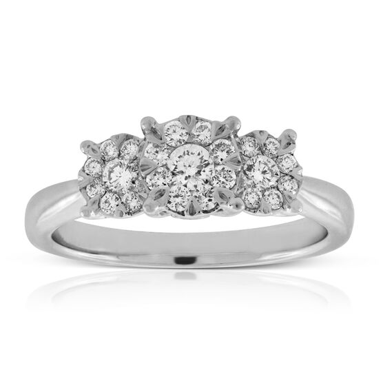 Three Stone Love Eternal Diamond Ring 14K