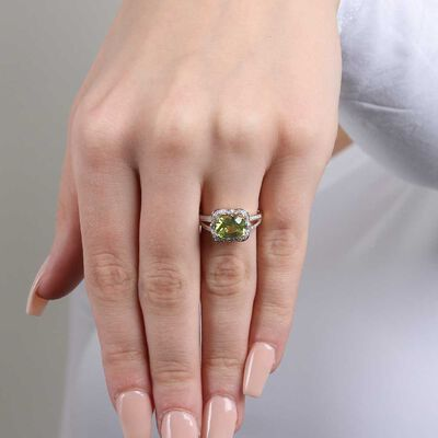 Cushion Peridot & Diamond Halo Ring14K