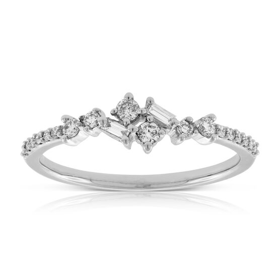 Scattered Baguette & Round Diamond Band 14K