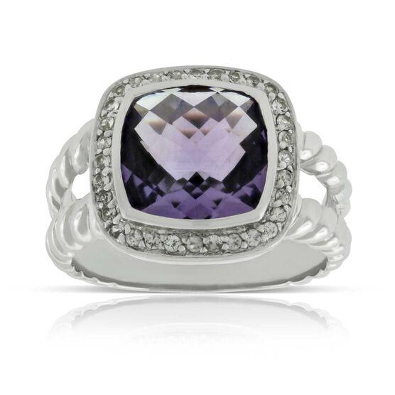 Amethyst & White Sapphire Ring 14K