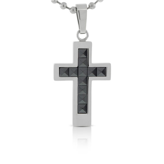 Black Ceramic Cross Pendant in Stainless Steel