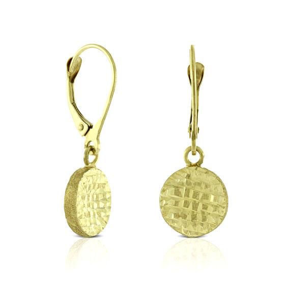 Diamond Cut Flat Bead Drop Earring 14K