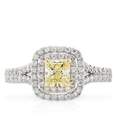 Radiant Cut Yellow Diamond Halo Ring .60 Ct. Center