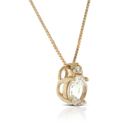Rose Gold Morganite & Diamond Necklace 14K