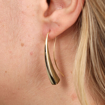 Golden Tapered Bar Earrings 14K