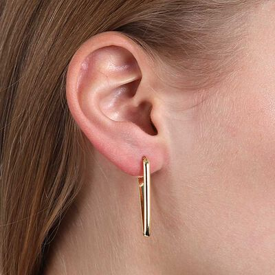 """V"" Hoop Earrings 14K"