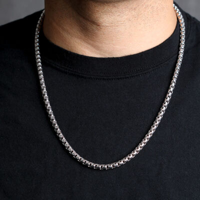 Round Box Chain in Silver, 24""