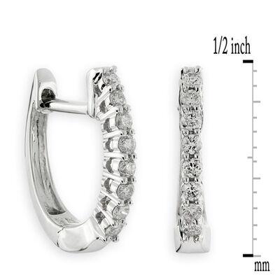 Oval Diamond Hoop Earrings 14K, 1/7 ctw.