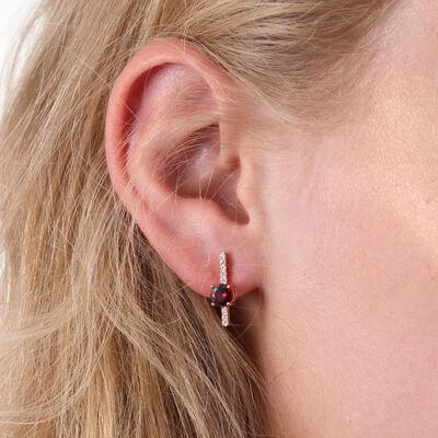 Rose Gold Rhodolite & Diamond Stick Earrings 14K