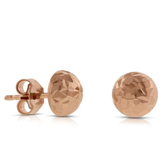 Rose Gold Dome Earrings 14K