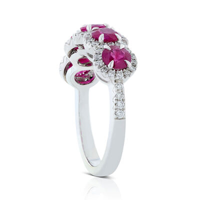 5-Stone Ruby & Diamond Halo Ring 18K