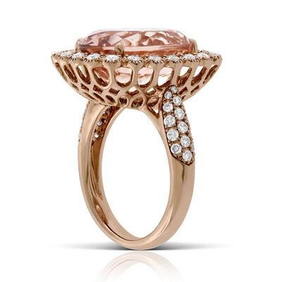 Rose Gold Morganite & Diamond Cocktail Ring 14K
