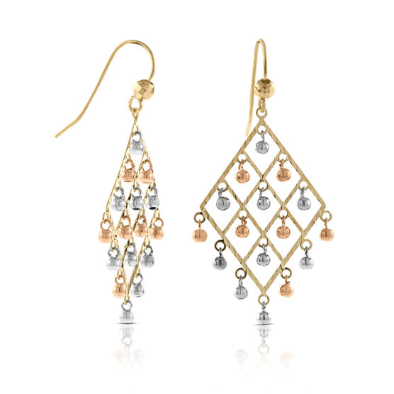 Tri-Color Triangle Chandelier Earrings 14K