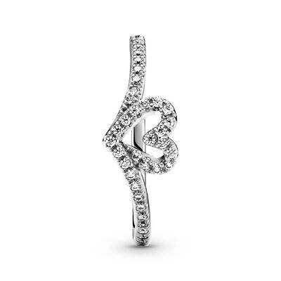 Pandora Sparkling Wishbone Heart CZ Ring