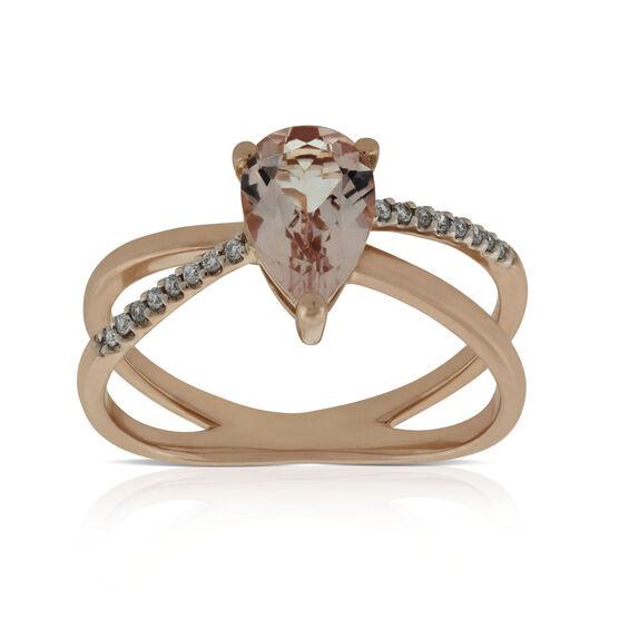 Rose Gold Criss Cross Morganite & Diamond Ring 14K