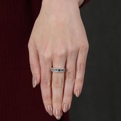 Bezel Set Emerald Cut Diamond Ring 14K