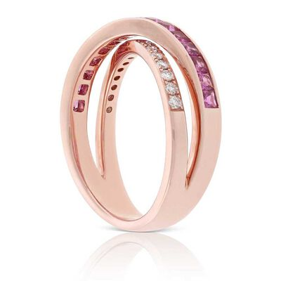Rose Gold Pink Sapphire & Diamond Crossover Ring 14K