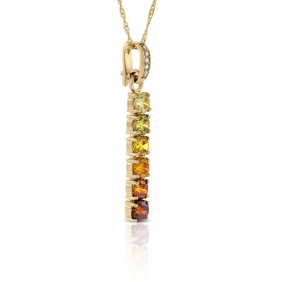 Graduating Colored Sphalerite & Diamond Necklace 14K