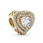 Pandora Sparkling Levelled Hearts CZ Charm 14K