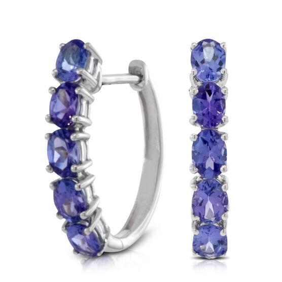 Tanzanite Hoop Earrings 14K