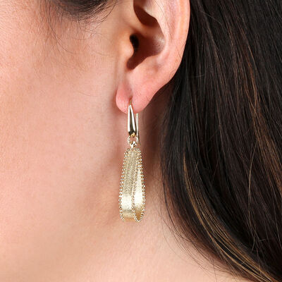 Toscano Beaded Edge Loop Earrings 14K