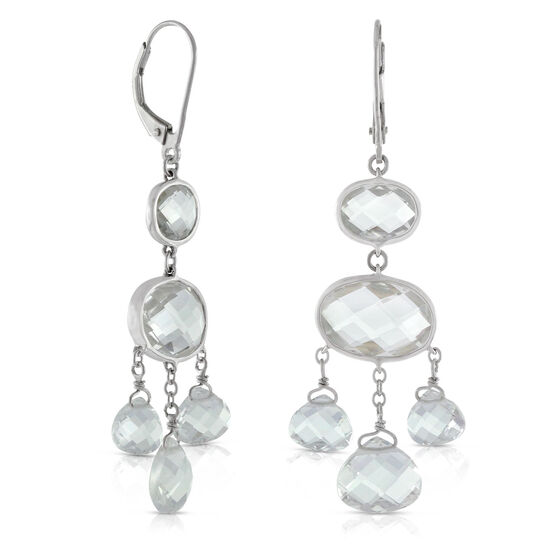 White Topaz Chandelier Earrings 14K