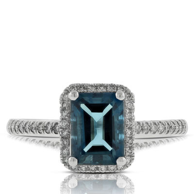 London Blue Topaz & Diamond Ring 14K