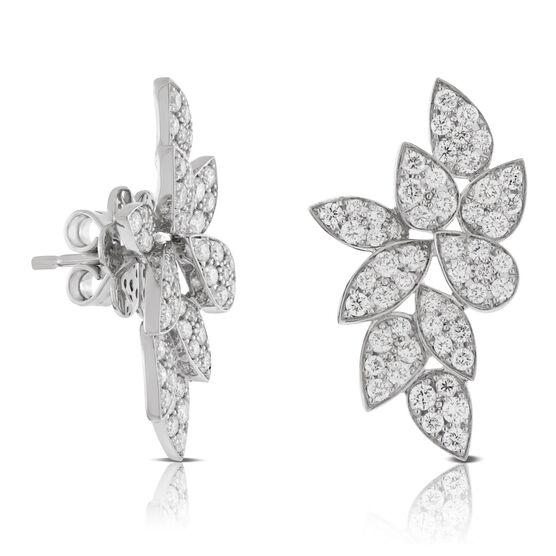 Diamond Cluster Petal Earrings 14K