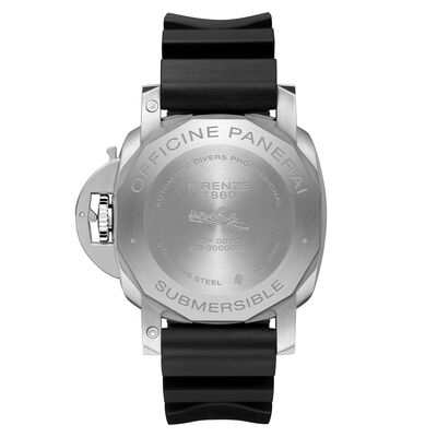 Panerai Submersible Black Dial Rubber Steel Watch, 42mm