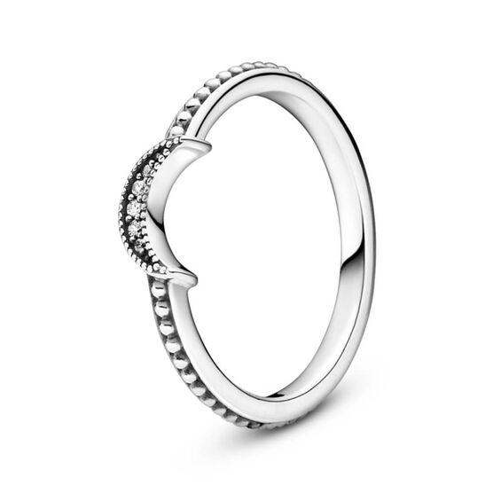 Pandora Crescent Moon Beaded CZ Ring