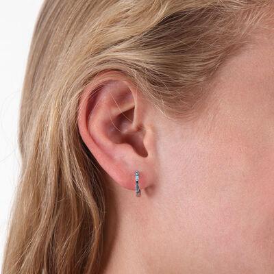 Blue Topaz Huggie Hoop Earrings 14K
