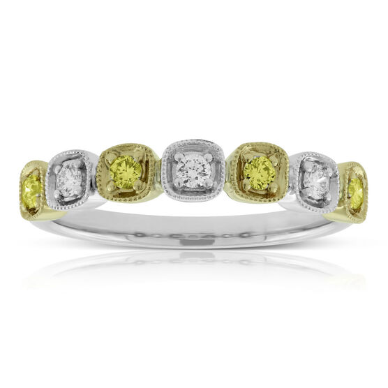 Yellow & White Diamond Ring Band 14K