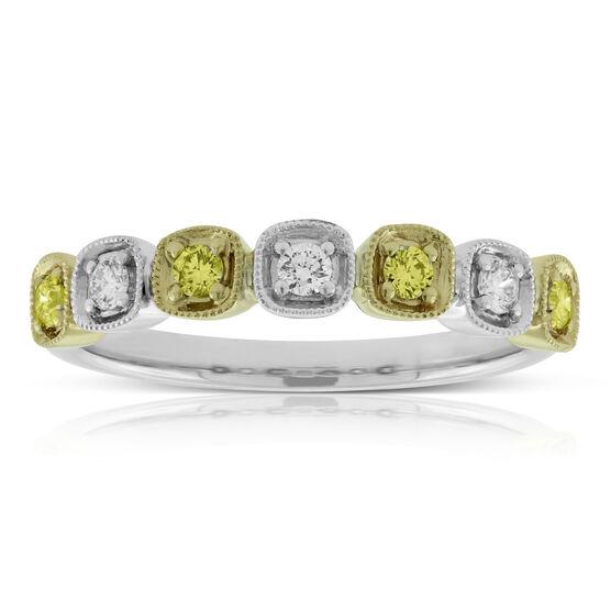 Yellow & White Diamond Band 14K