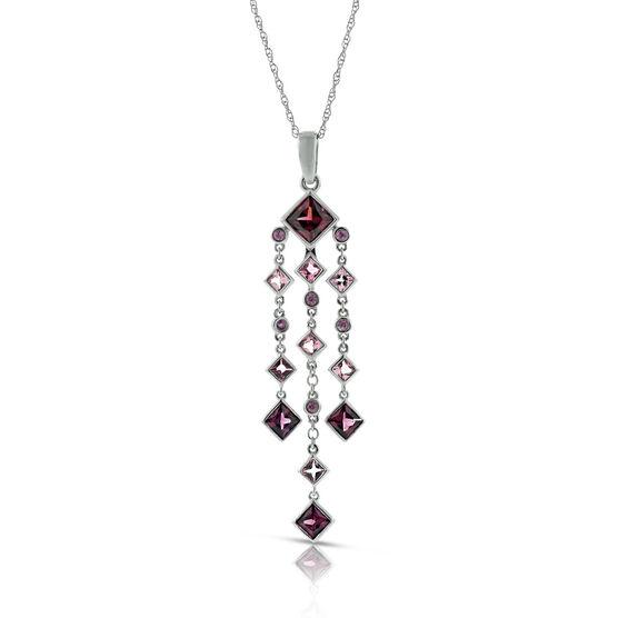 Garnet, Pink Tourmaline, & Pink Sapphire Chandelier Necklace 14K