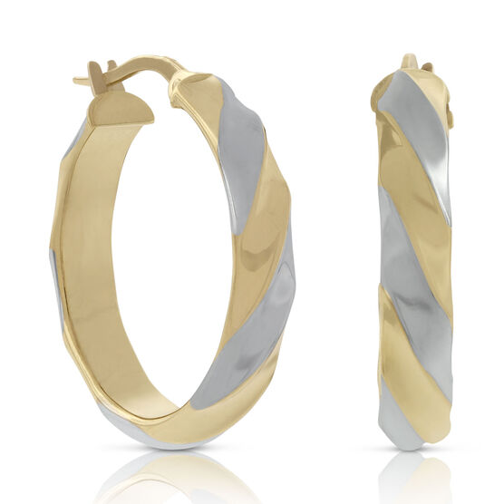 Toscano Two-Tone Twisted Hoop Earring 18K