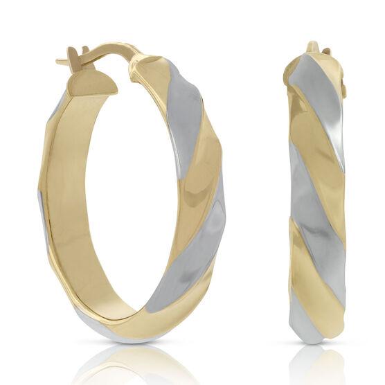 Toscano Two-Tone Twisted Hoop Earring 18K