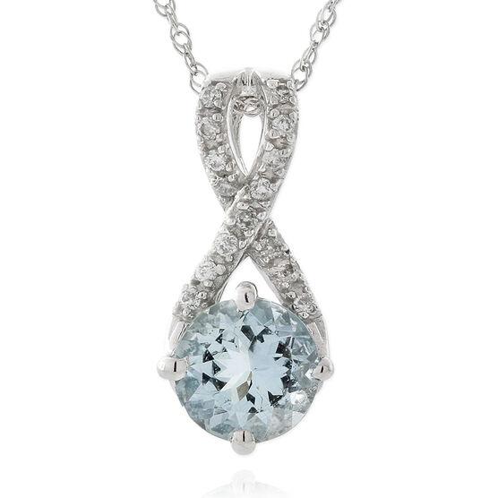 Aquamarine & Diamond Pendant 14K