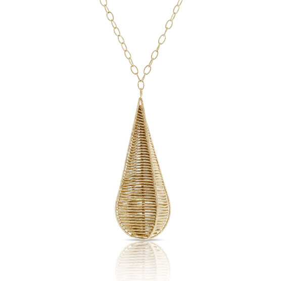 Toscano Webbed Drop Necklace 18K, 24""