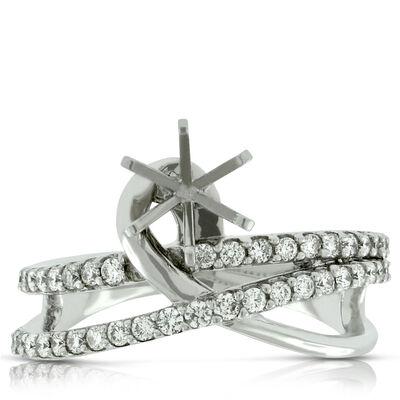 Crossover Semi-Mount Diamond Ring 14K