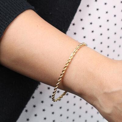 "Diamond Cut Rope Bracelet 14K, 7.5"""
