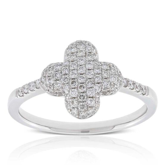 Diamond Pavé Clover Ring 14K